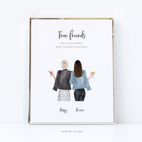 True friends are like diamonds | unique print for best friends
