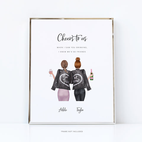 Good friends birthday print | happiness and champagne quote