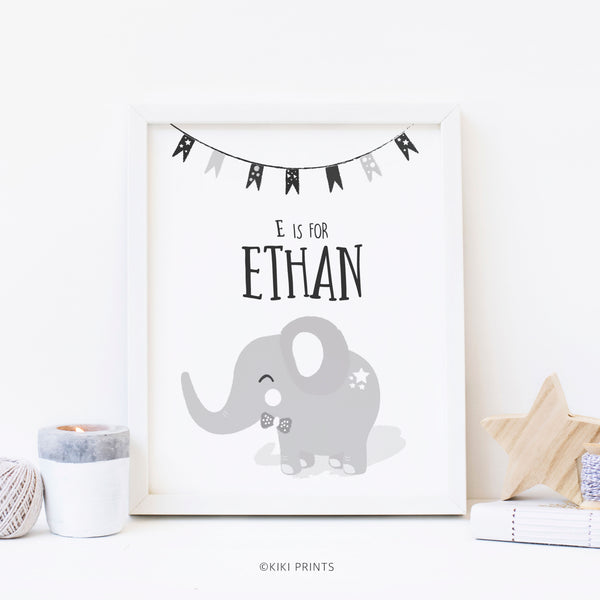 N is for Noah Elephant Art for Kids | Blue Elephant Nursery Print