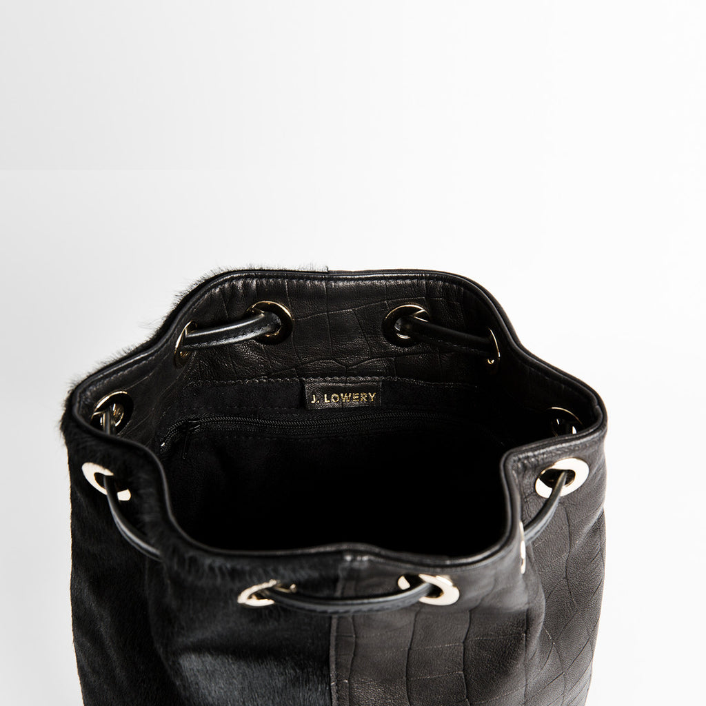 calf hair and black leather carryall
