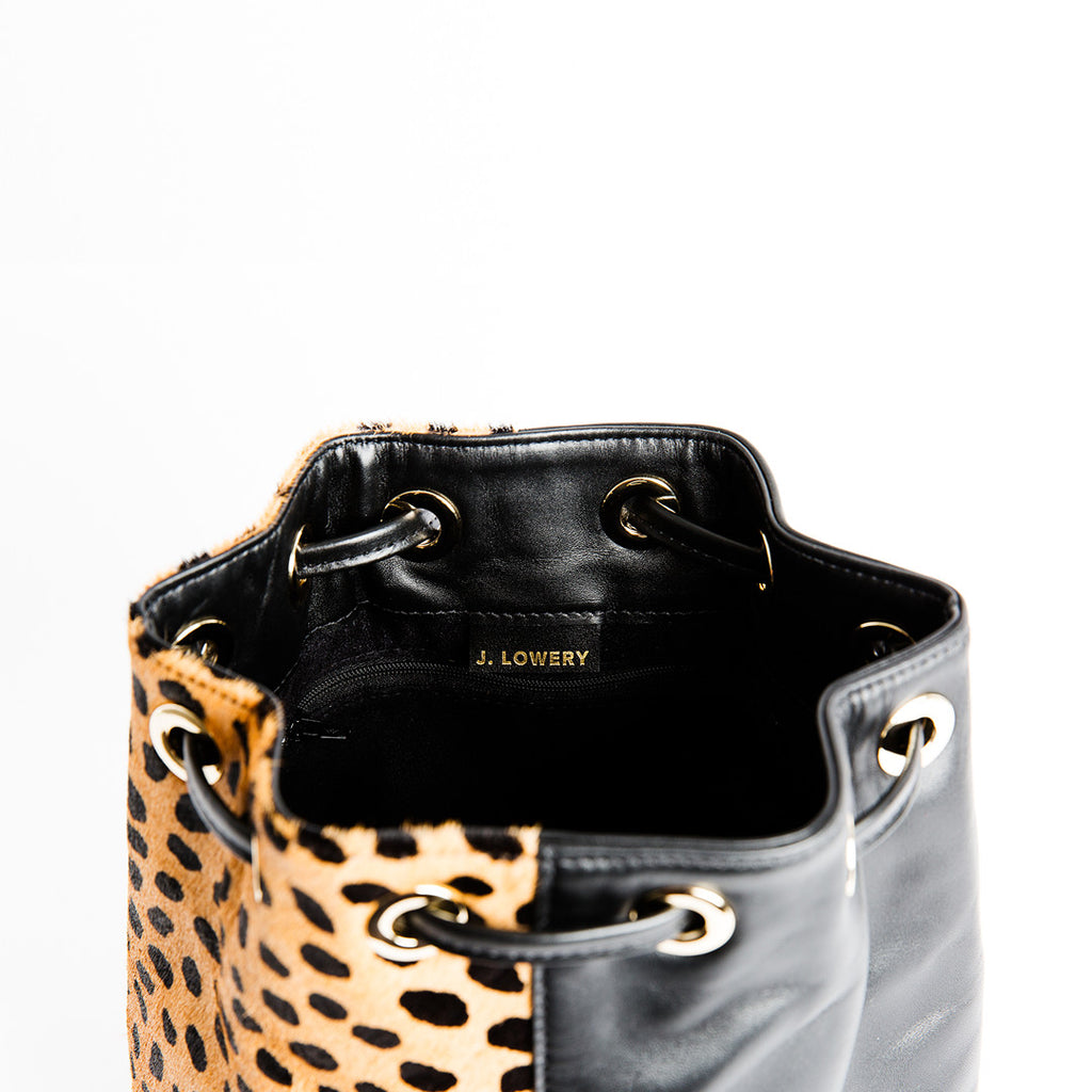 cheetah calf hair and black leather carryall