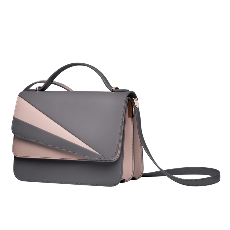 Butterfly Large Double Flap Shoulder Bag Grey/Rose