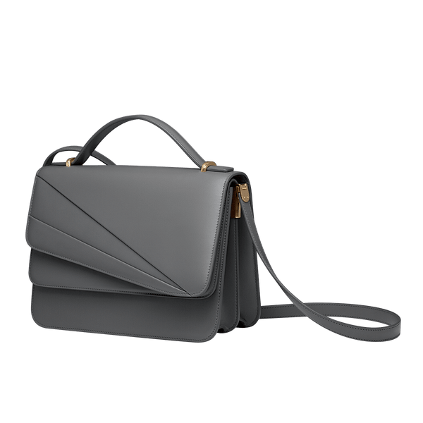 Butterfly Large Double Flap Shoulder Bag Gull Grey