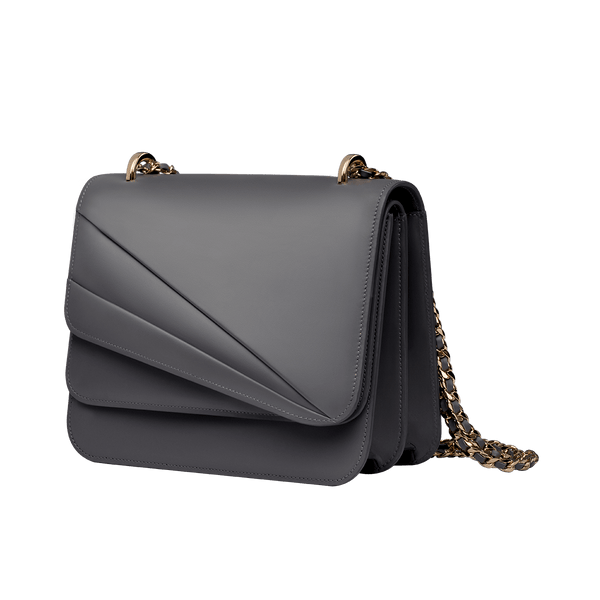 Butterfly Small Double Flap Chain Bag Gull Grey