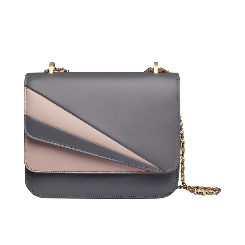 Butterfly Small Double Flap Chain Bag Grey/Rose