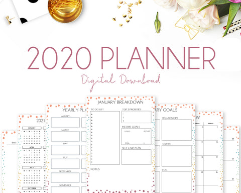 2020 Planner - Colourful Dots