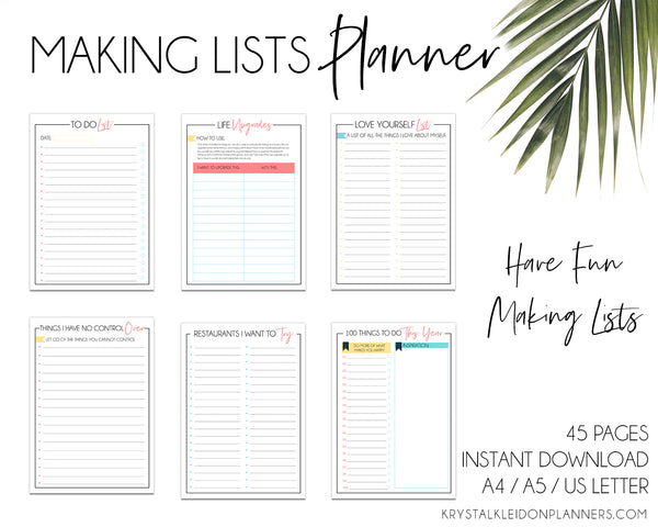 Do you love lists? Then you'll LOVE the Making Lists Planner - pages and pages of lists to help you focus on self care, to keep yourself entertained and our favourite is the 100 Things To Do List (seriously - so much fun). #todolist #lifelist #lists #planner #printable