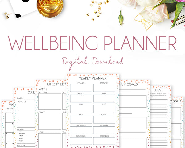 Wellbeing Planner - Colourful Dots