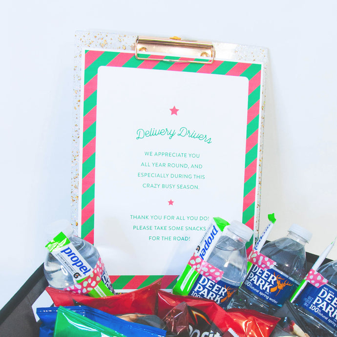 Goodie Baskets for Delivery Drivers With Free Printable