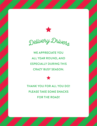 Thank You Delivery Drivers Printable