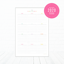 Load image into Gallery viewer, 2020 Full Year Planning Printable Wall Calendar