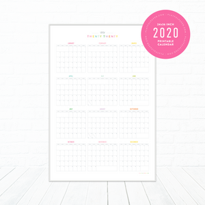 2020 Full Year Planning Printable Wall Calendar