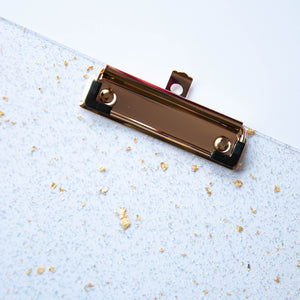Gold Flake and Glitter Acrylic Clipboard
