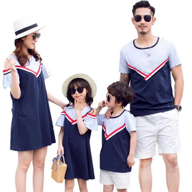 1140d130 ... Load image into Gallery viewer, Summer Father Son T Shirts New 2019  Family Look Mother ...