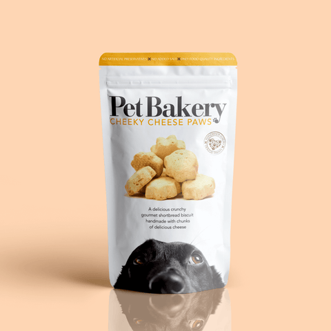 Packaging for Cheeky Cheese Paws by the Pet Bakery