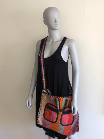 Large handmade crossbody shopper
