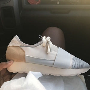 Race Runner Leather Balenciaga Sneakers Tan
