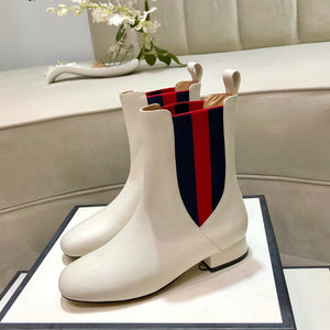G Leather Boots White