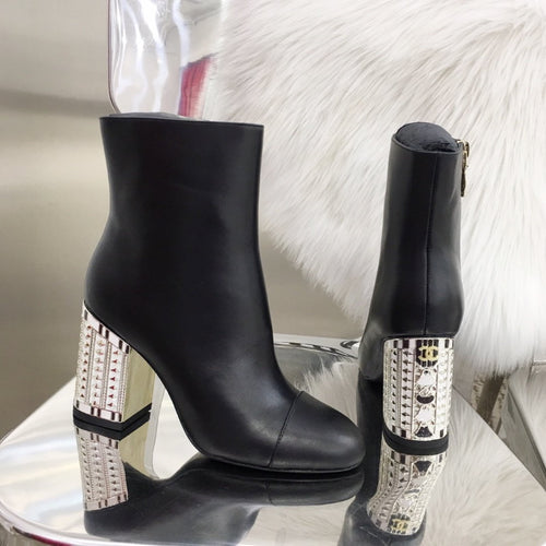 CHL Boots Heels Black Silver