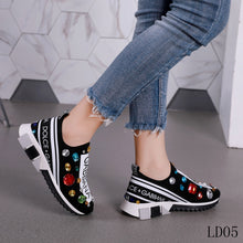 Load image into Gallery viewer, D&G Trainer Sneakers Rhinestones Black
