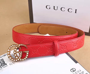 G Belt Gold Pearl Leather Red