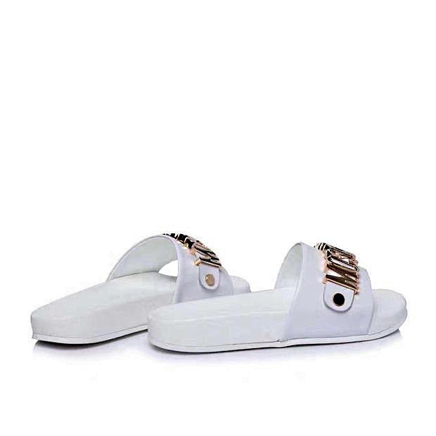 9348e6417 Moschino Slippers Slides 2 Color - 5W / White / Pu Leather + rubber