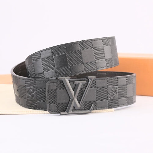 L Leather Belt Black Grey