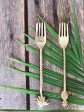 Load image into Gallery viewer, the palm lyfe l sustainable solid brass tropical fork