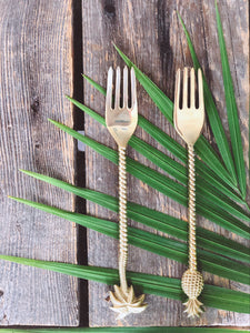 the palm lyfe l sustainable solid brass tropical fork