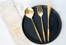 Load image into Gallery viewer, the palm lyfe l solid brass modern cutlery set