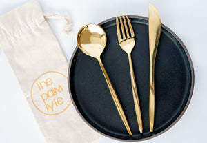 the palm lyfe l solid brass modern cutlery set