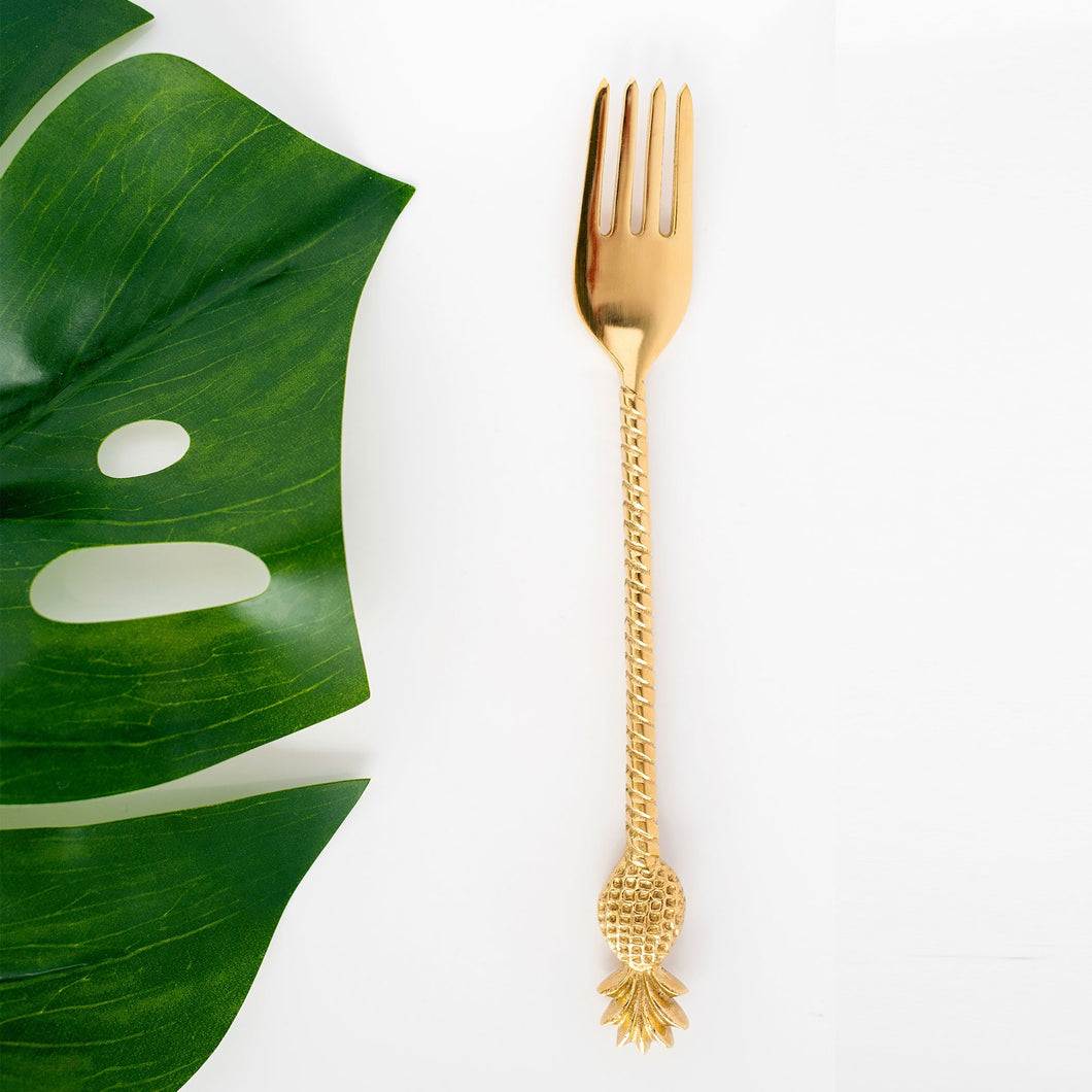 the palm lyfe l sustainable solid brass pineapple fork