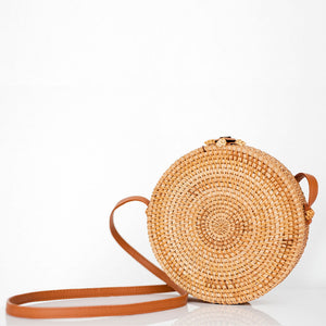 the palm lyfe l unique round woven cross-body rattan bag 20x7cm