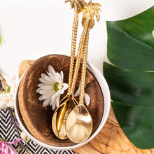 Load image into Gallery viewer, the palm lyfe l sustainable solid brass tropical spoon