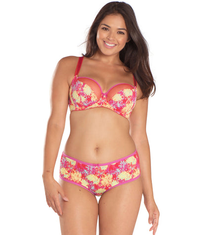 Curvy Kate Blossom Short - Red Print - Model - Front