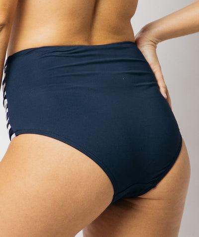 Nip Tuck Gathered Side High Waist Brief Block Stripe - Navy