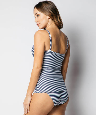 Nip Tuck Sorrento Stripe Cross Front Moulded D/DD Cup Underwire Tankini Top - Navy/White - Back