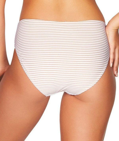 Sea Level Sorrento Stripe Mid Bikini Brief - Stone - Back