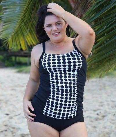 Capriosca Chlorine Resistant Panelled Tankini Top - Black & White Dots - Model - Front