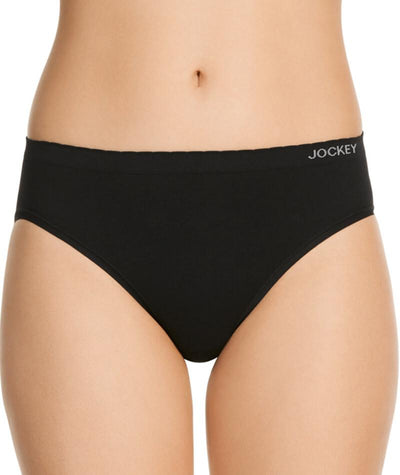 "Jockey Everyday Seamfree Hi Cut Brief - Black ""Front"""