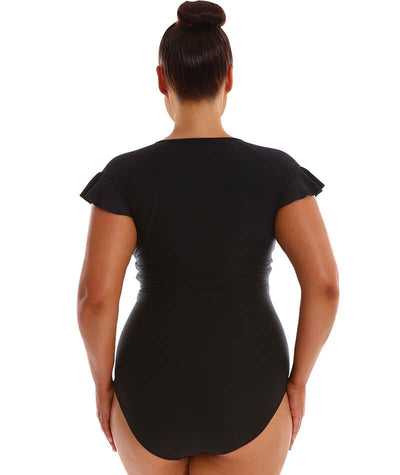 "Capriosca Frill Zip One Piece - Black ""Back"""
