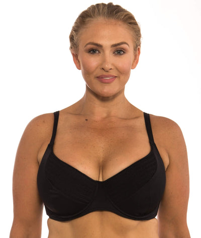 Capriosca Plain Matt Bikini Top with Shirring - Black