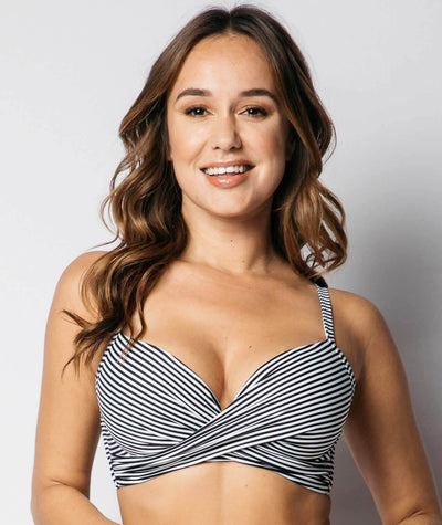 Nip Tuck Cross Front Moulded D - DD Cup Underwire Bikini Top Sorrento Stripe - Black / Ivory