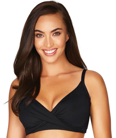 Sea Level Essentials Twist Front DD-E Cup Bikini Top - Black - Front