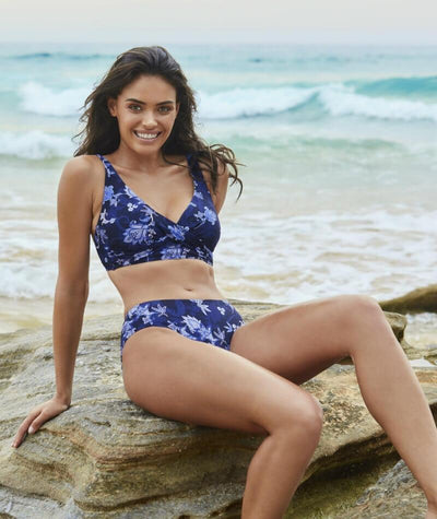 Sea Level Paisley Floral Cross Front B-DD Cup Bikini Top - Navy - Model