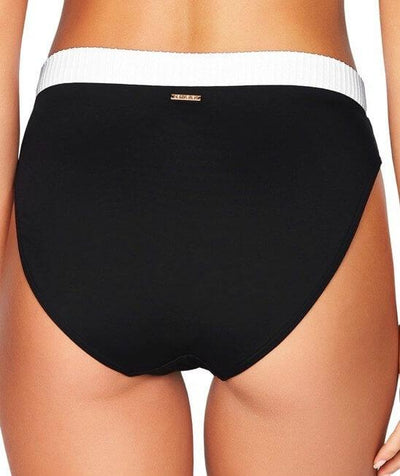 Sea Level San Sebastian Mid Band High Leg Bikini Brief - Black/White - Back