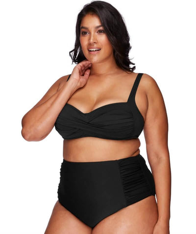 Artesands Rouched Side High Waist Brief - Black - Model - Front