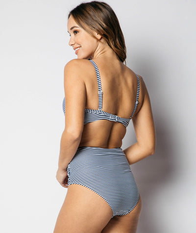Nip Tuck Cross Front Moulded D - DD Cup Underwire Bikini Top Sorrento Stripe - Navy / White