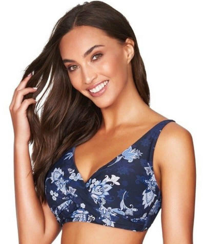 Sea Level Paisley Floral Cross Front B-DD Cup Bikini Top - Navy - Side