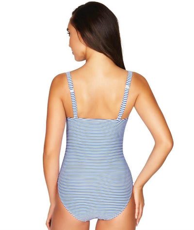 Sea Level Sorrento Stripe Twist Front B-DD Cup One Piece Swimsuit - French Blue - Back